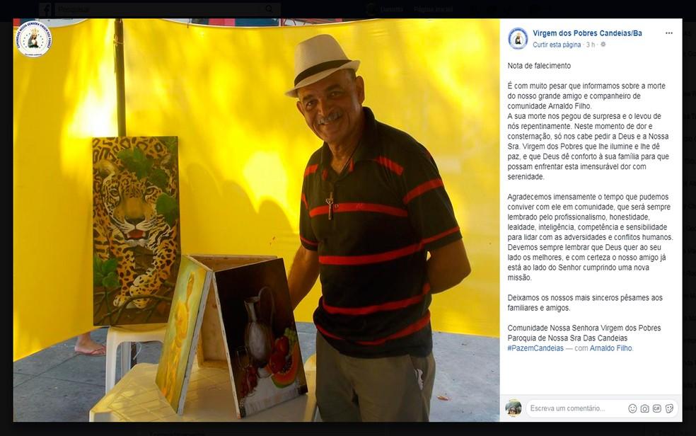 Paróquia de Candeias emitiu nota pesar pela morte do artista plástico (Foto: Reprodução/Facebook)