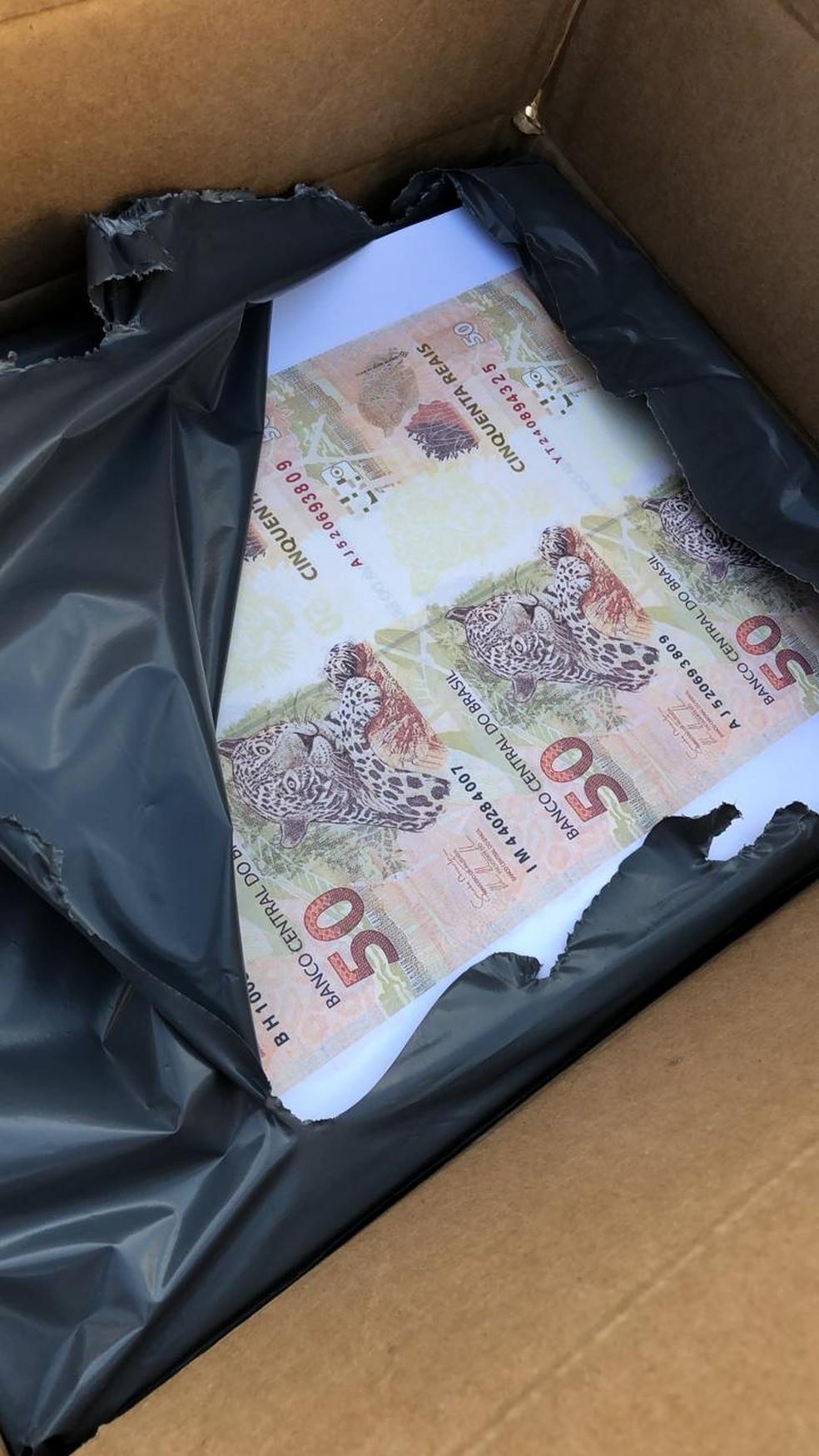 Segundo a Polícia Federal, cédulas falsas estavam prontas para serem cortadas e seriam espalhadas por Rondônia.  — Foto: Divulgação/Polícia Federal