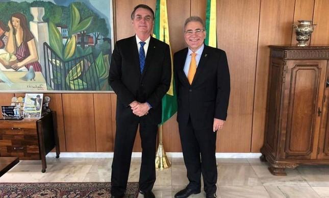 Bolsonaro e Queiroga no Palácio do Planalto, em setembro de 2020