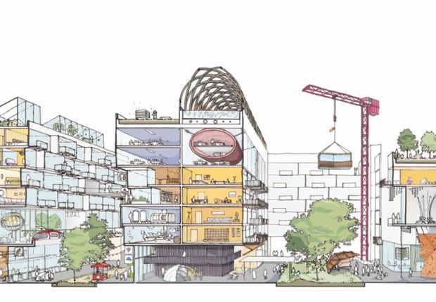 Prédios de uso misto combinam escritórios, comércio e moradia. As construções, modulares, são instaladas e removidas conforme a demanda (Foto: Reprodução/Sidewalk Labs)