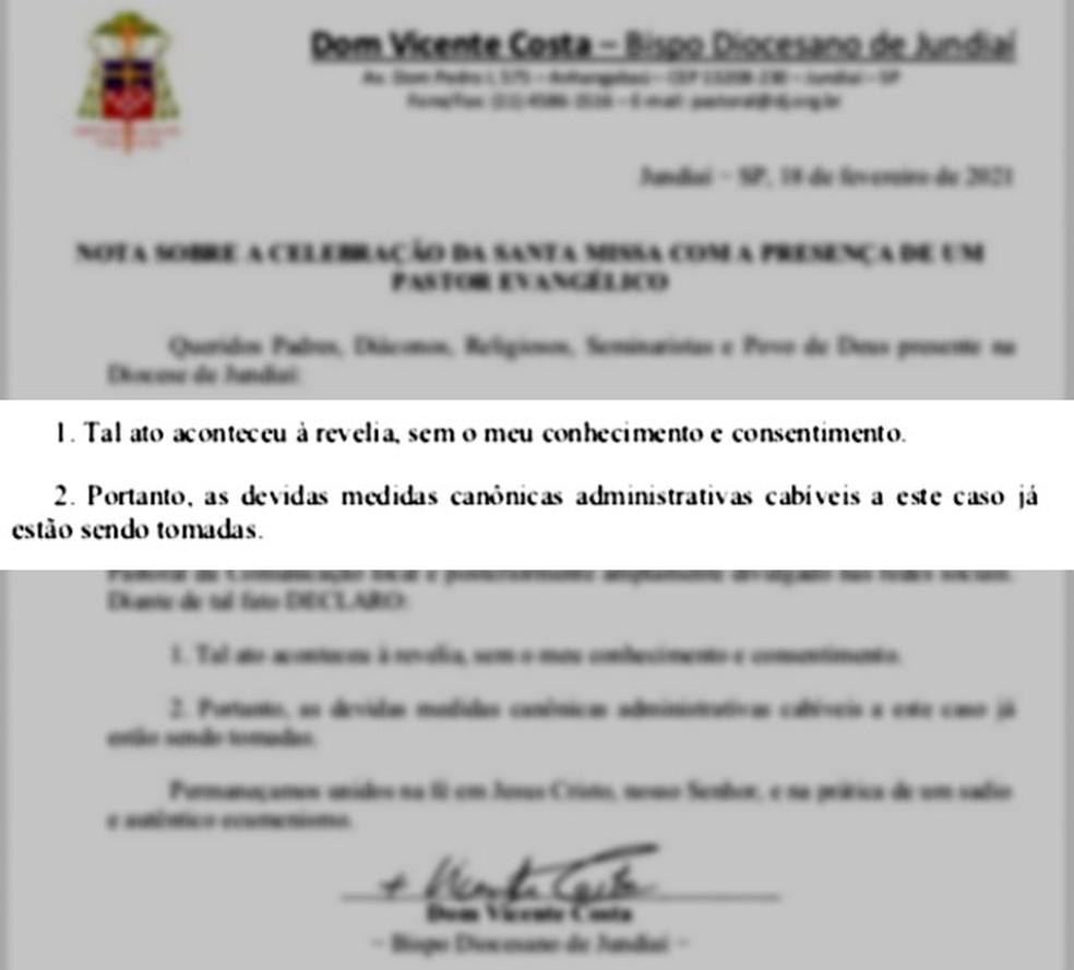 Diocese de Jundiaí abre investigação após pastor evangélico participar de celebração da missa de Cinzas — Foto: Reprodução