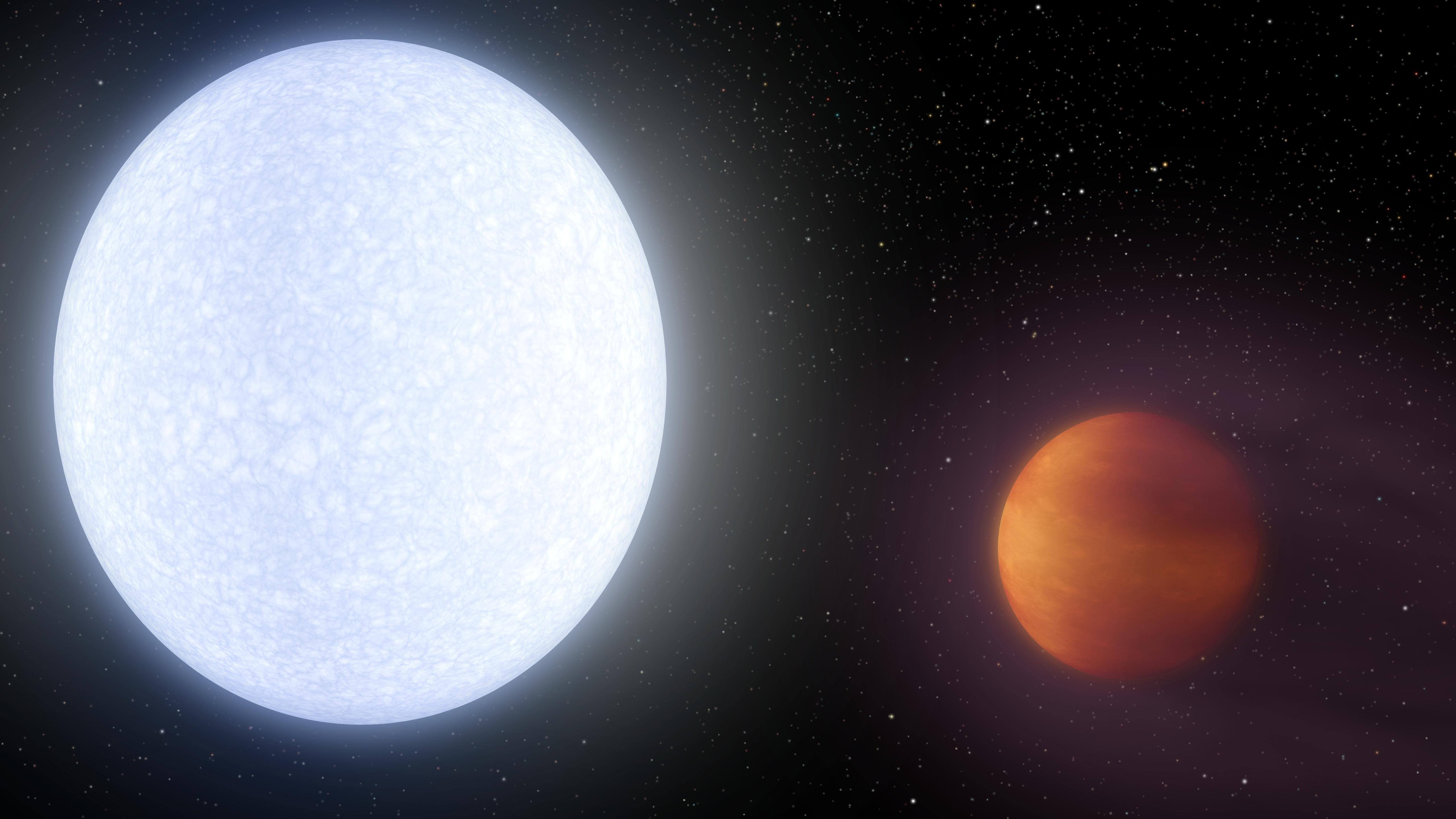 Representação artística de Kelt-9b (vermelho) e sua estrela Kelt-9 (azul) (Foto: NASA/JPL-Caltech)