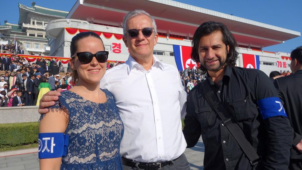 Durante 11 dias, os repórteres do Fantástico Stephanie Lotufo, Álvaro Pereira Jr. e Wellington de Almeida estiveram na Coreia do Norte — Foto: Reprodução/Fantástico