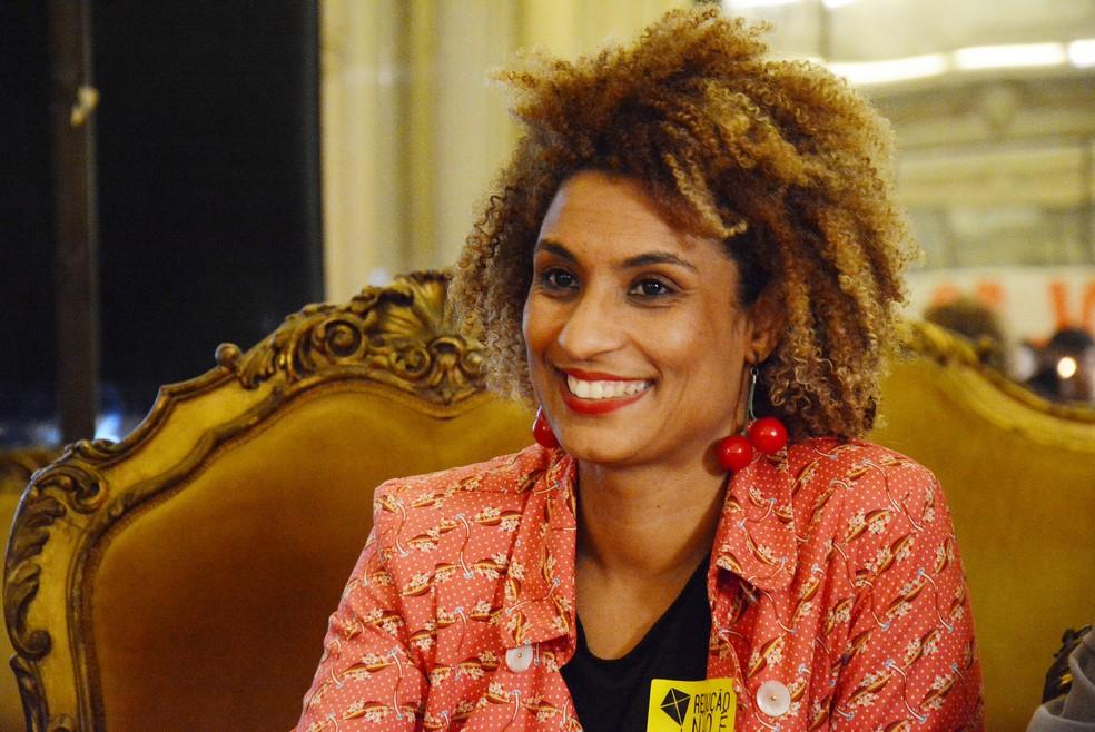 Marielle Franco, vereadora do PSOL, em foto de outubro de 2017 em debate na Câmara (Foto: Mário Vasconcellos/Câmara do Rio)