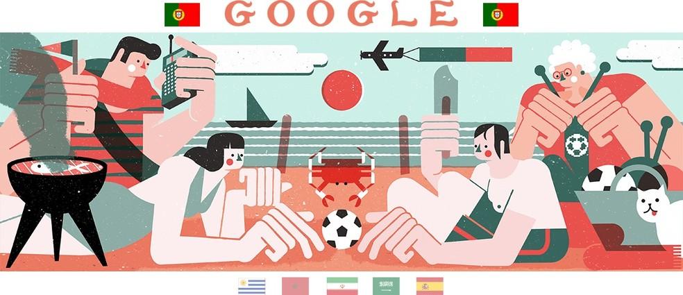 Feito por Tiago Galo, Doodle de Portugal retrata futebol unindo pessoas (Foto: Reprodução/Google)