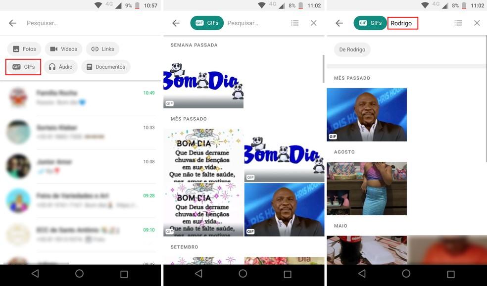 Pesquisando GIFs com ferramenta de busca do WhatsApp — Foto: Reprodução/Rodrigo Fernandes