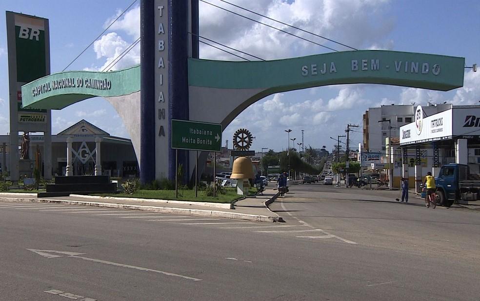 Entrada do município de Itabaiana (SE) — Foto: Reprodução/TV Sergipe