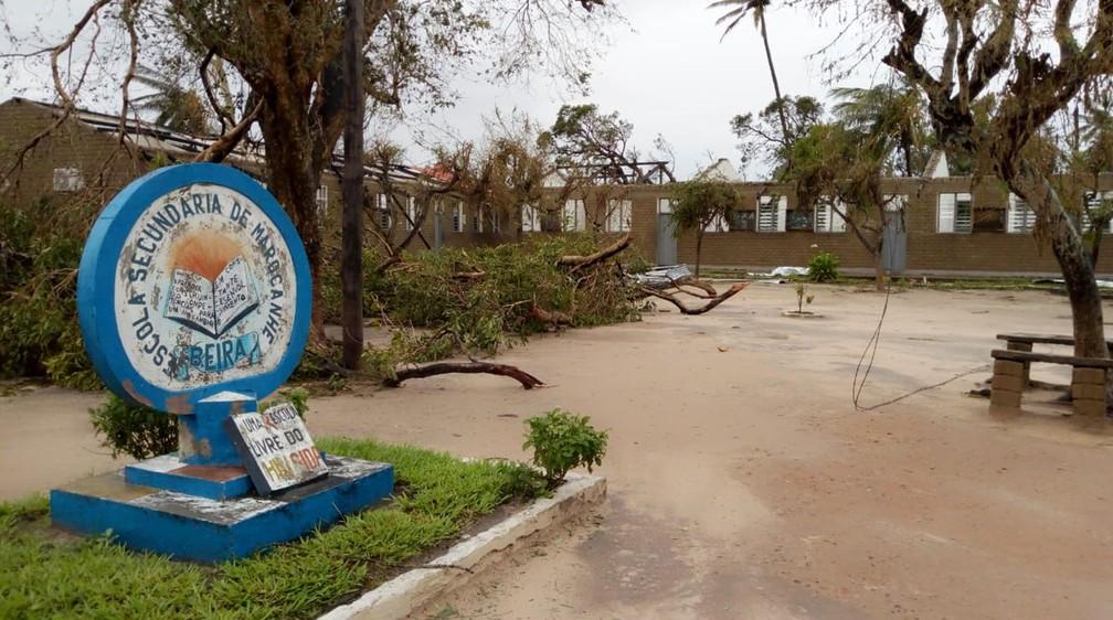 Escola Secundária Marocanhe, em Beira (Moçambique), sofreu danos severos na passagem do ciclone Idai — Foto: Abu Bacar Abdula/Arquivo Pessoal