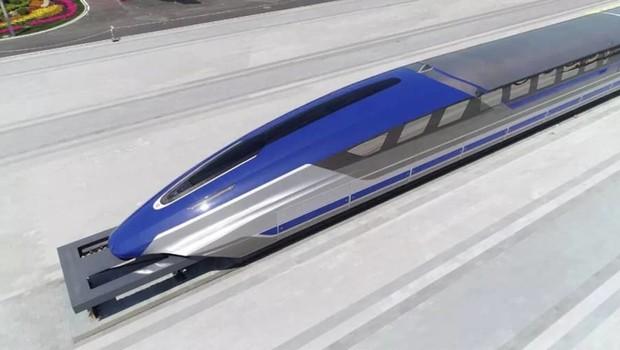 A China criou um protótipo de trem-bala magnético que alcança a velocidade de 600 km/h.  (Foto: Divulgação)