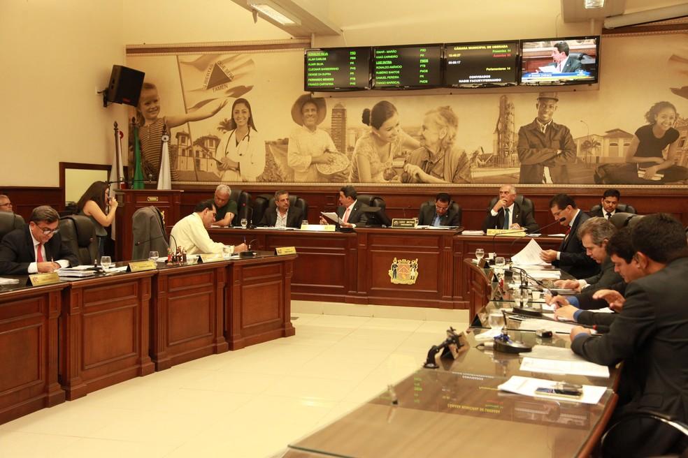 -  Na sessão desta quarta, apenas o vereador Kaká Carneiro não compareceu  Foto: Rodrigo Garcia/Câmara de Uberaba