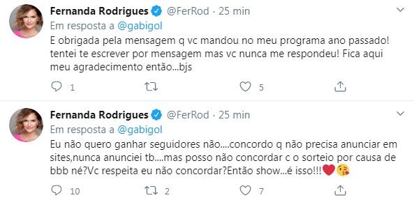 Resposta de Fernanda Rodrigues a Gabigol (Foto: Reprodução)