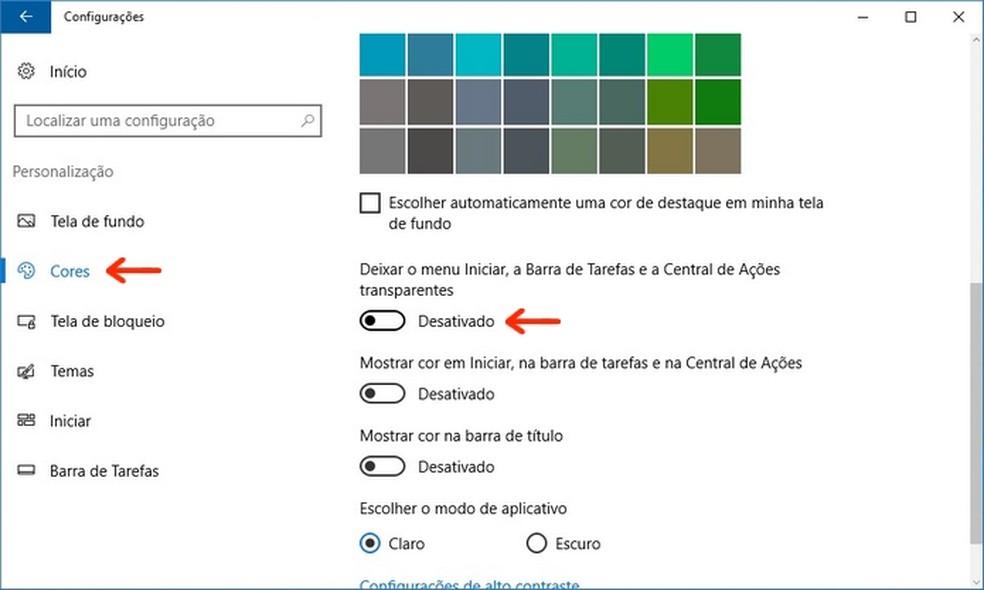 Desativação de efeitos de transparência no Windows 10 (Foto: Reprodução/Raquel Freire)