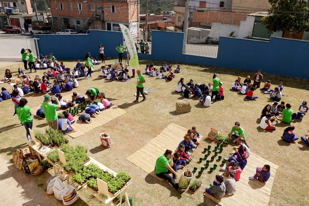 Atividades aconteceram durante todo o dia no CEU Ponte Alta (Foto: Fernando Pilatos/Globo)