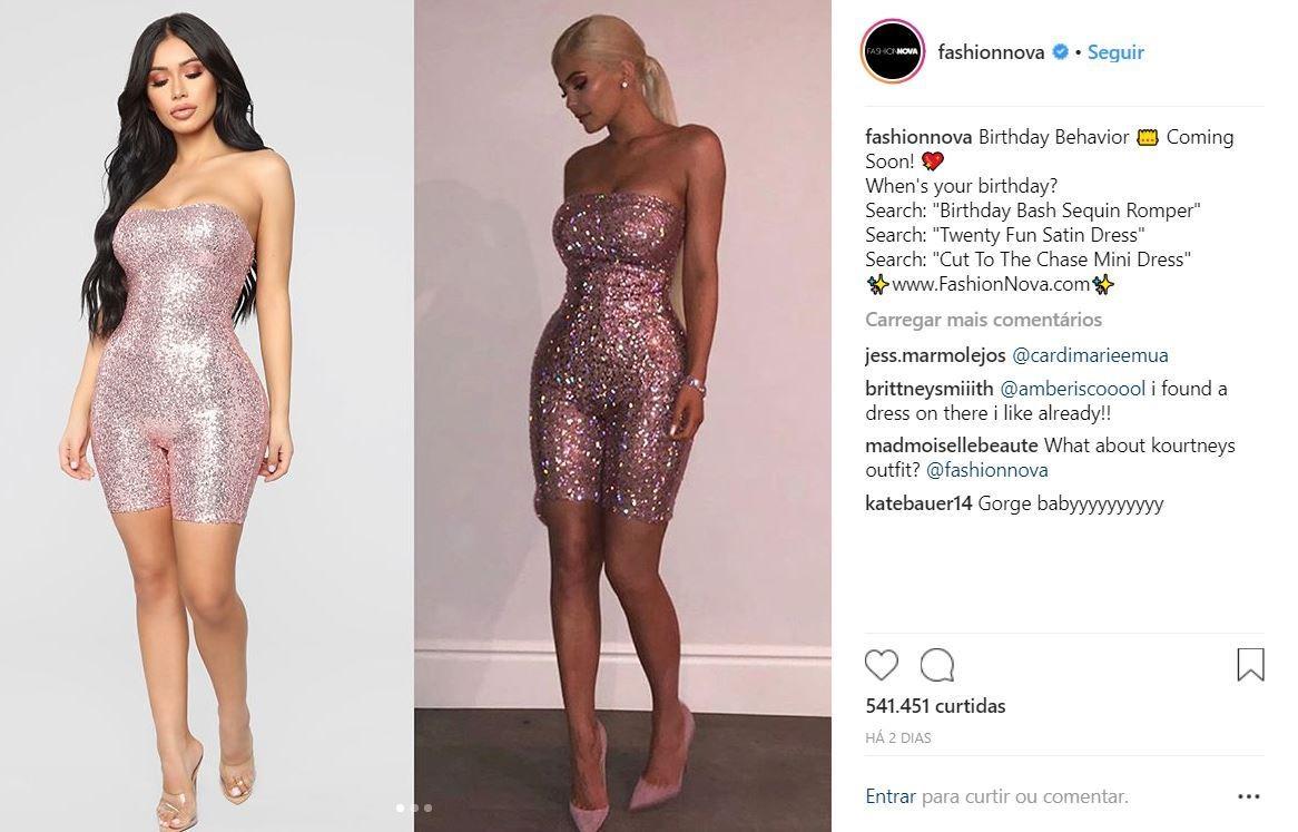 """À esquerda, a """"recriação"""" do vestido utilizado por Kylie Jenner (Foto: Reprodução/Instagram)"""