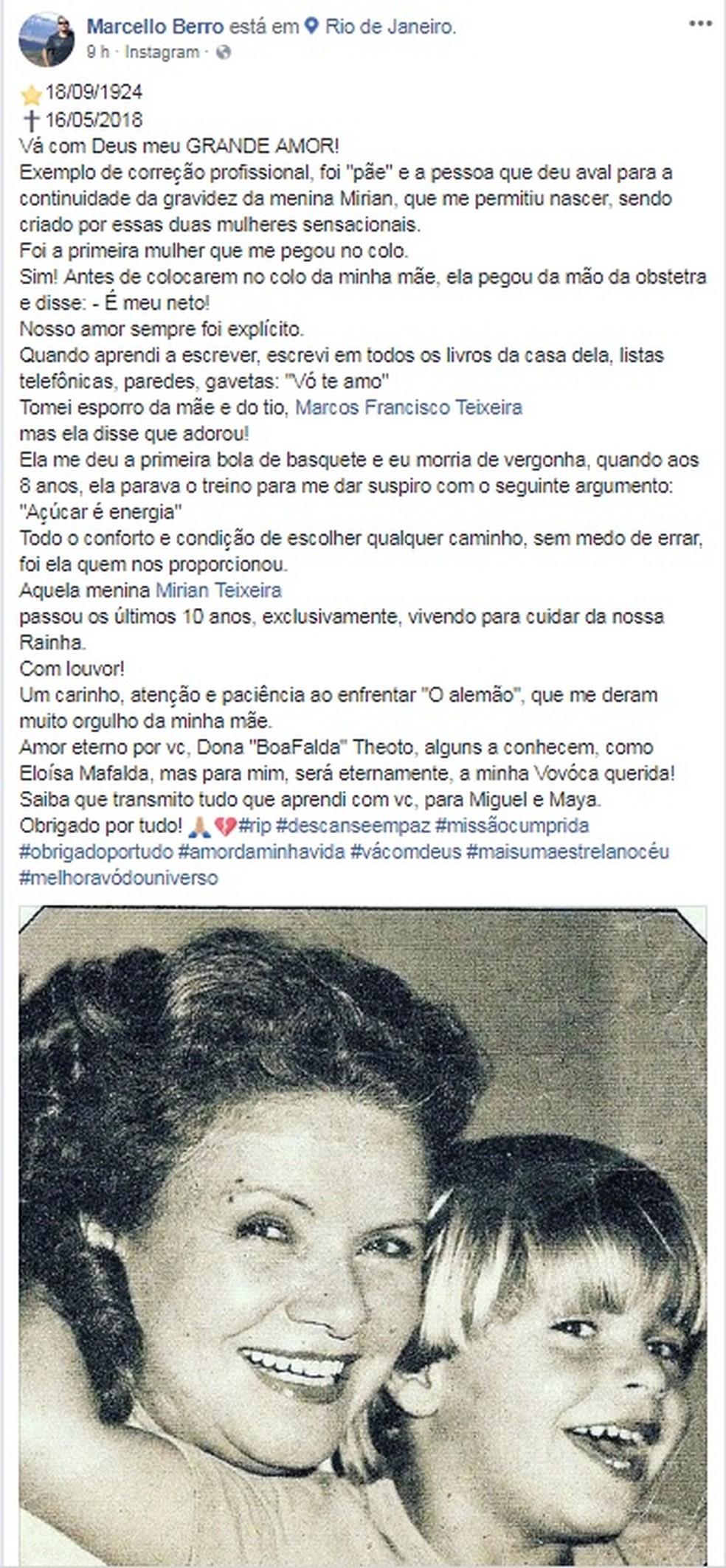 Marcelo Berro, neto de Eloísa Mafalda, faz post em homenagem a avó (Foto: Reprodução/Facebook)