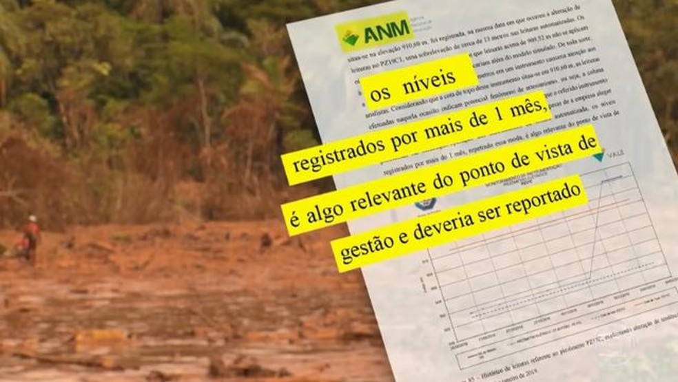 Relatório da ANM aponta que Vale não reportou níveis registrados por piezômetros que eram relevantes — Foto: Arte/TV Globo