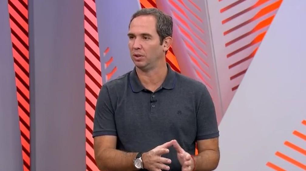 Caio Ribeiro participou de entrevista coletiva virtual com Fernando Diniz — Foto: Reprodução / TV Globo