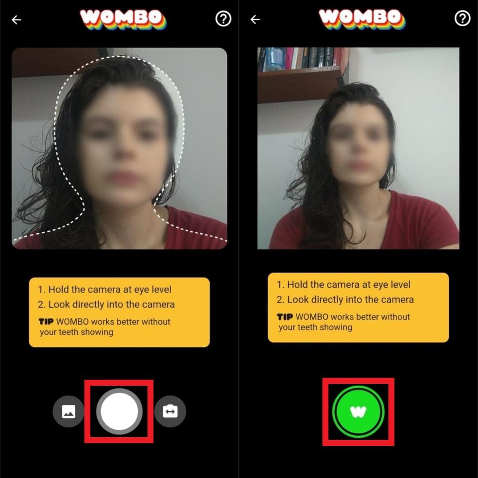 Alinhe o rosto entre a linha pontilhada e capture a foto — Foto: Reprodução/Clara Fabro