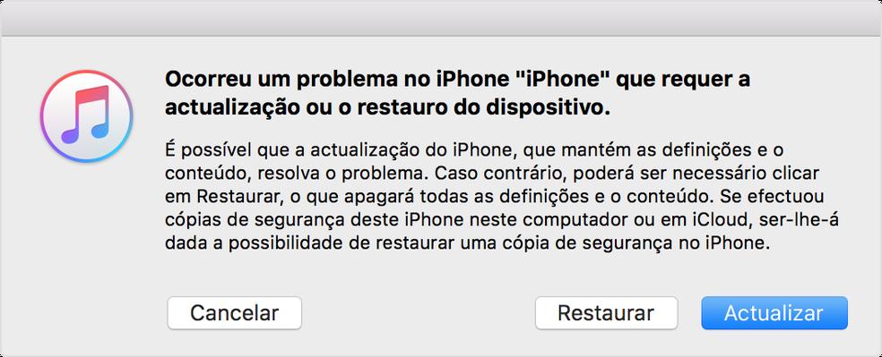 Mensagem do iTunes no seu computador (Foto: Reprodução/Lucas Mendes)