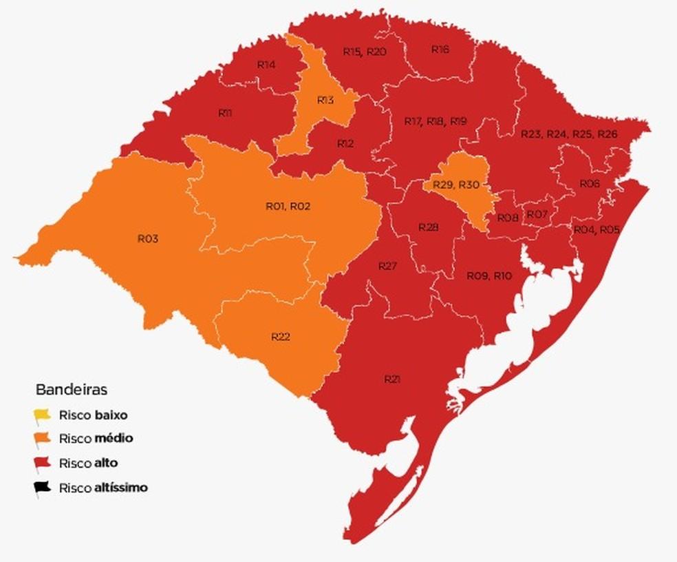 Das 20 regiões, 15 ficaram em bandeira vermelha na 10ª semana do distanciamento controlado no RS — Foto: Governo do RS/Divulgação