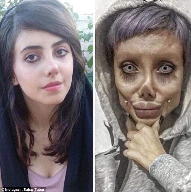 Iraniana compartilha fotos maquiado como uma versão zumbi de Angelina Jolie (Foto: Reprodução / Instagram)