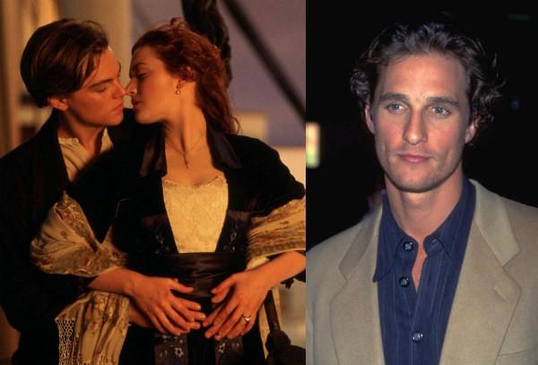 Matthew McConaughey e Kate Winslet e Leonardo DiCaprio em cena de Titanic (Foto: Reprodução/Getty Images)