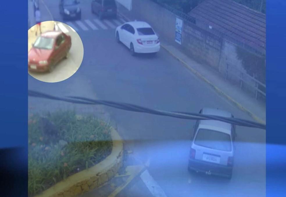 Imagem divulgada pela polícia mostrou carro de Larissa sendo levado por sequestradores em Extrema (Foto: Reprodução EPTV)
