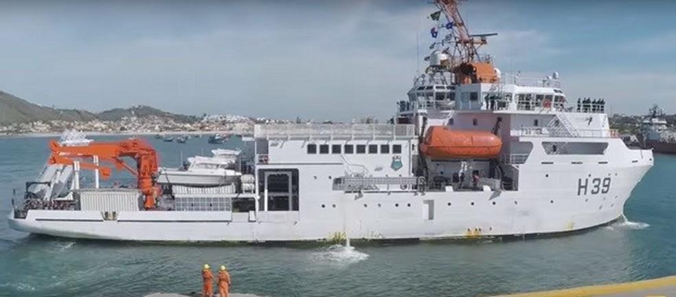 Navio-sonda Vital Inter ajudou na tentativa de localização do piloto do caça da Marinha  (Foto: Ministério da Ciência Tecnologia e Inovação)