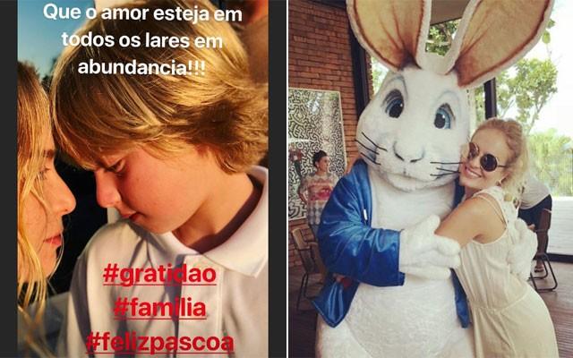 Angélica e seu filho Benício (ela curtiu a Páscoa bastante e fez varios videos com o coelhão de pelúcia!) (Foto: Reprodução / Instagram)
