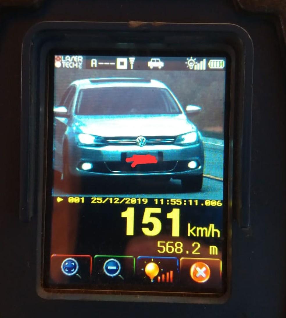 Veículo estava a 151 km/h onde o limite é de 80 km/h — Foto: Polícia Militar Rodoviária de Santa Catarina
