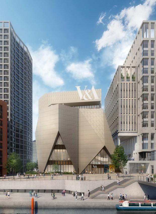 Fachada da nova unidade do museu Victoria & Albert, no antigo Parque Olímpico de Londres.  (Foto:  Reprodução V&A / O'Donnell + Tuomey)
