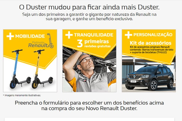 Renault dará patinete elétrico para quem comprar o novo Duster na pré-venda (Foto: Divulgação)