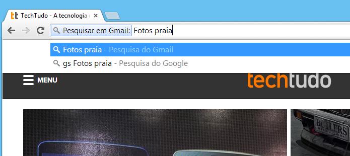 Realizando pesquisa no Gmail através do Chrome (Foto: Reprodução/Helito Bijora)