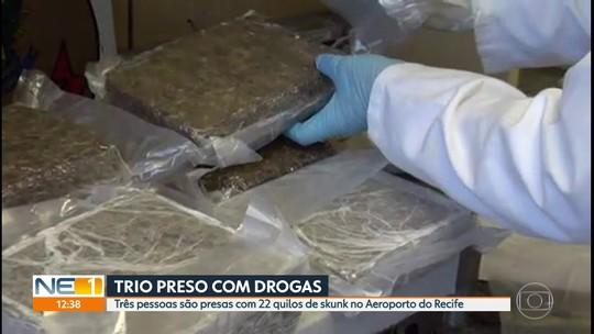 Trio é preso com 22 quilos de skunk no Aeroporto do Recife