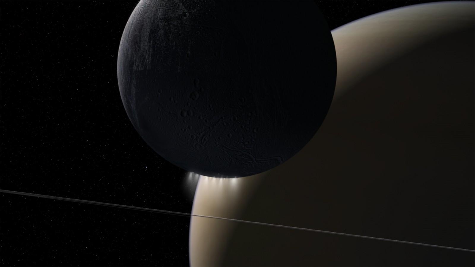 As órbitas da Grande Final da sonda Cassini da NASA encontraram uma interação poderosa de ondas de plasma que se deslocam de Saturno para seus anéis e sua lua Enceladus. (Foto: NASA/JPL-Caltech)