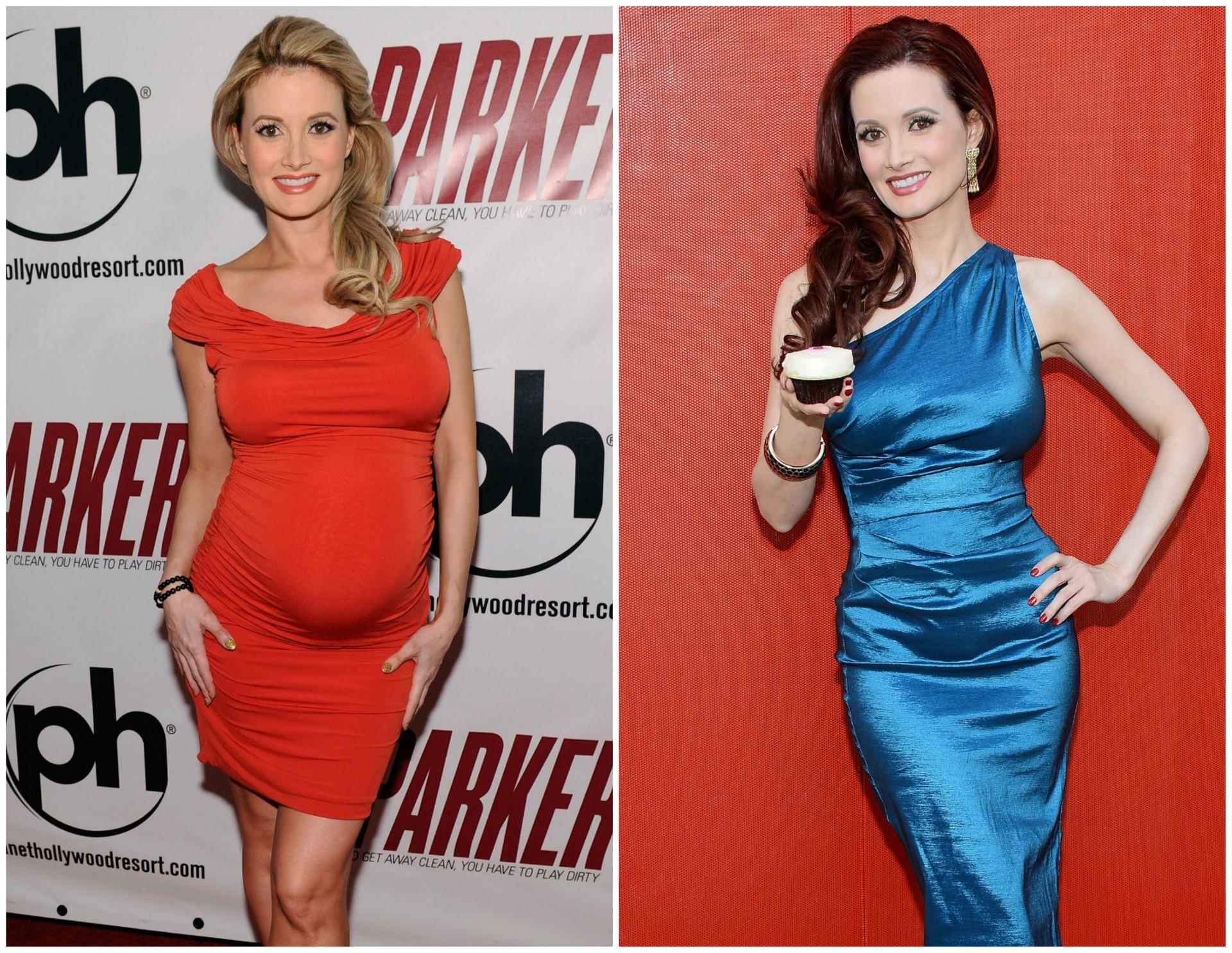 A modelo e apresentadora Holly Madison em janeiro de 2013 (à esq.) e em março de 2014. A filha dela, Rainbow Aurora Rotella, nasceu em 5 de março do ano passado. (Foto: Getty Images)