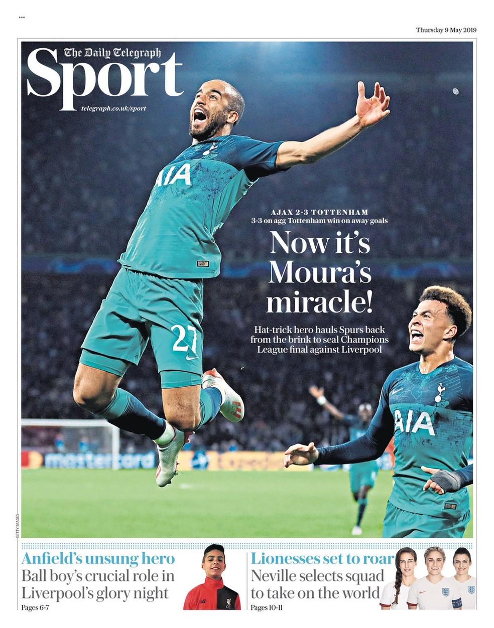 """Daily Telegrah destaca: """"Agora é o milagre de Moura"""" — Foto: Reprodução/Daily Telegraph"""