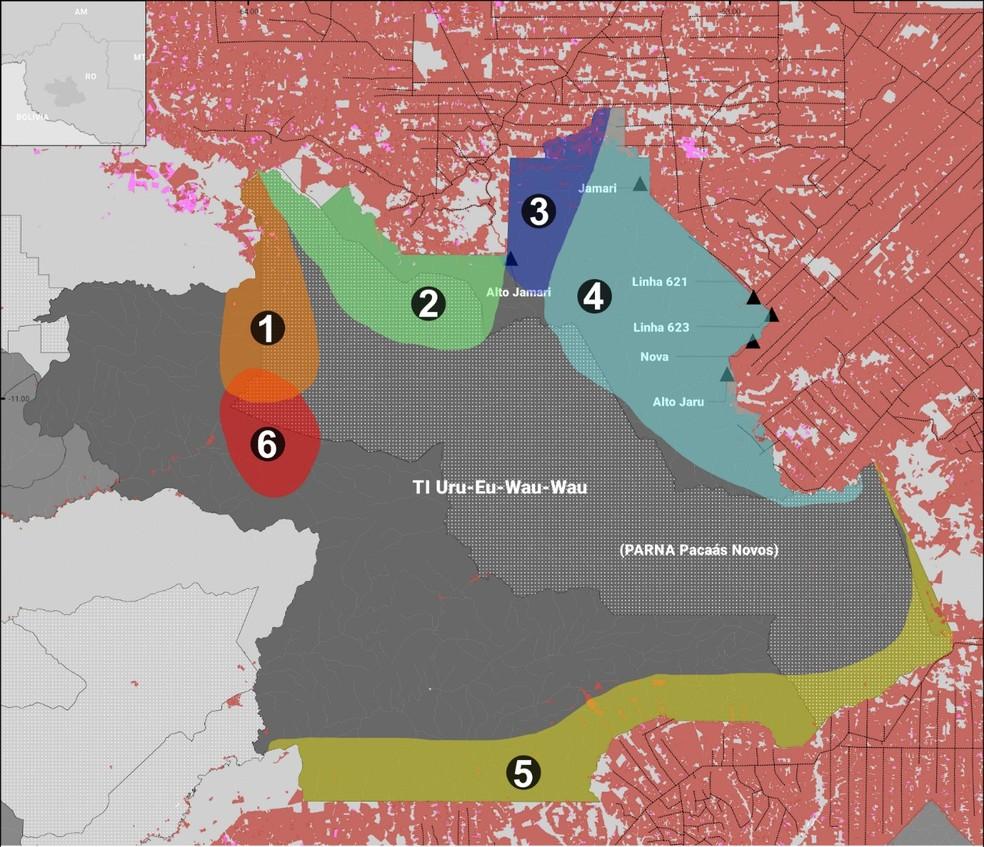 Mapa mostra pontos já invadidos na TI Uru-eu-wau-wau  — Foto: Divulgação/Uru-eu-wau-wau