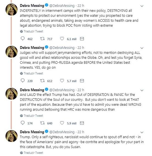 Debra Messing se irrita com Susan Sarandon (Foto: Reprodução / Twitter)
