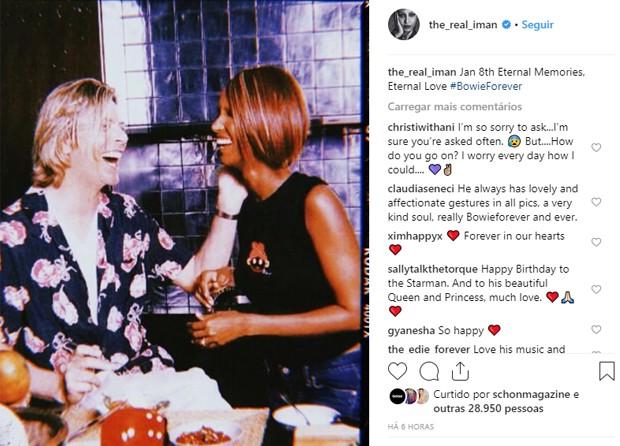 David Bowie e a esposa, Iman (Foto: Reprodução/Instagram)