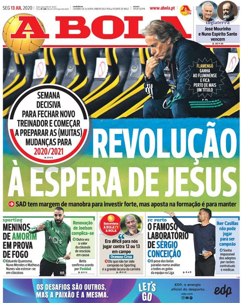 Jornais portugueses seguem com técnico do Flamengo em destaque — Foto: Reprodução