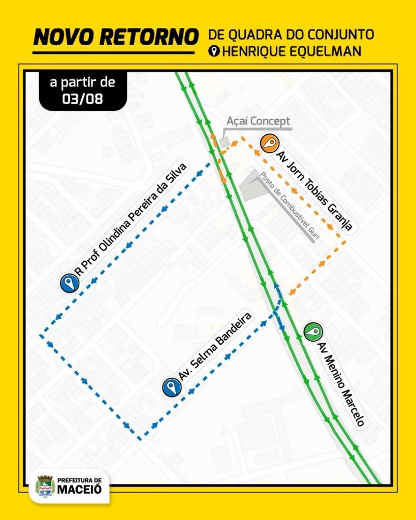 Contorno de quadra no acesso do conjunto Henrique Equelman, em Maceió, começa a funcionar nesta segunda
