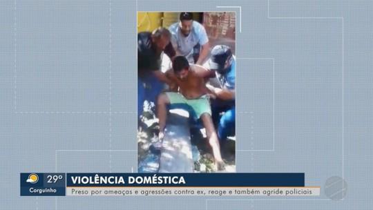Homem reage à prisão por violência doméstica e tenta agredir policiais em MS