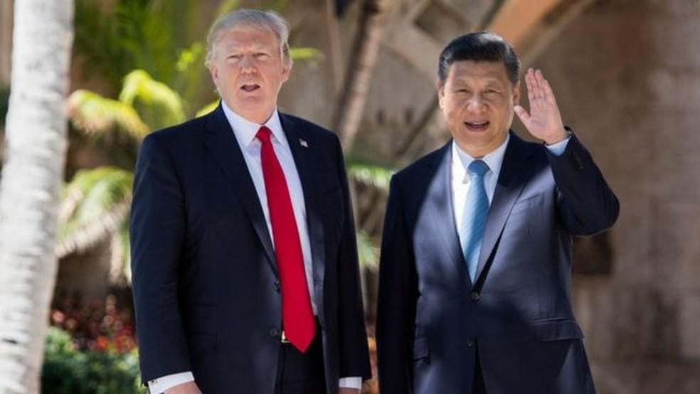 Trump recebeu líderes internacionais como Bolsonaro e o presidente da China, Xi Jinping, em Mar-a-Lago — Foto: Getty Images