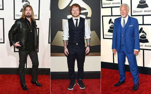 Billy Ray Cyrus (à esq.); Ed Sheeran (ao centro); Tom jones (à dir.)