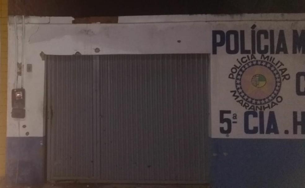Fachada da 5ª Companhia, em Humberot de Campos, alvo dos ataques dos bandidos — Foto: Colaboração