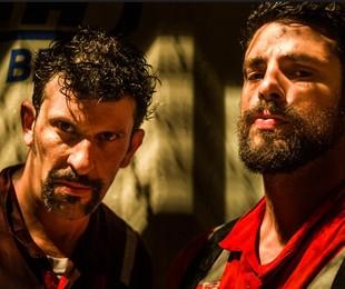 Milhem Cortaz e Cauã Reymond em 'Ilha de ferro'   TV Globo