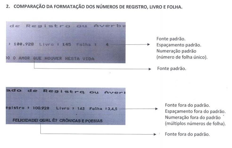Fontes de letras fora do padrão constam foram identificadas na análise feita na Biblioteca Nacional — Foto: Reprodução