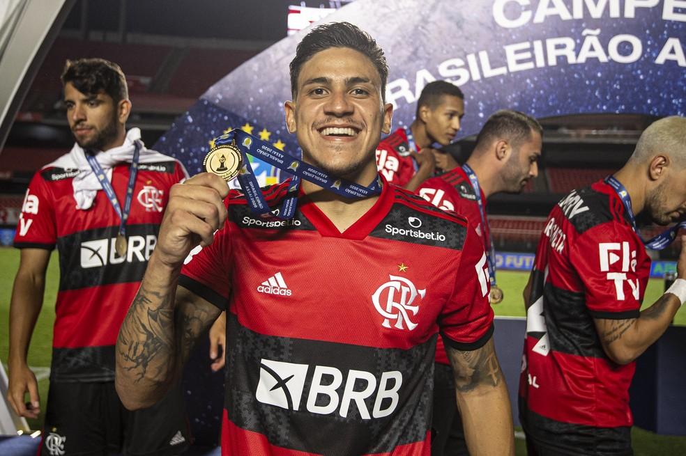 Fla já pagou a primeira parcela dos 14 milhões de euros por Pedro. Atacante será a grande compra de 2021 — Foto: Alexandre Vidal/Flamengo