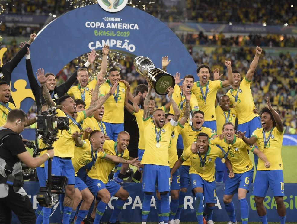 O Brasil é o atual campeão da Copa América: em 2019, em casa, venceu o Peru no Maracanã — Foto: André Durão / GloboEsporte.com